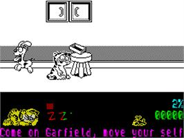 In game image of Garfield: Big, Fat, Hairy Deal on the Sinclair ZX Spectrum.