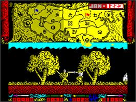 In game image of Genghis Khan on the Sinclair ZX Spectrum.