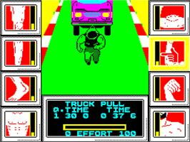 In game image of Geoff Capes Strongman on the Sinclair ZX Spectrum.