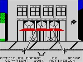 In game image of Ghostbusters on the Sinclair ZX Spectrum.
