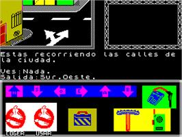 In game image of Ghostbusters II on the Sinclair ZX Spectrum.