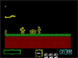 In game image of Ghouls 'N Ghosts on the Sinclair ZX Spectrum.