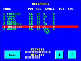 In game image of Graeme Souness Soccer Manager on the Sinclair ZX Spectrum.