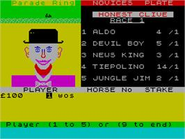 In game image of Grand National on the Sinclair ZX Spectrum.