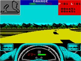 In game image of Grand Prix Circuit on the Sinclair ZX Spectrum.