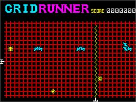 In game image of Gridrunner on the Sinclair ZX Spectrum.