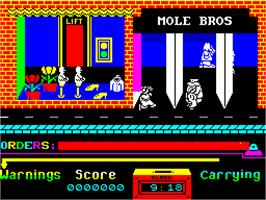 In game image of Grumpy Gumphrey Supersleuth on the Sinclair ZX Spectrum.