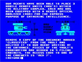 In game image of Hacker II: The Doomsday Papers on the Sinclair ZX Spectrum.