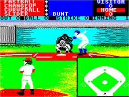 In game image of HardBall! on the Sinclair ZX Spectrum.