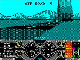 In game image of Hard Drivin' on the Sinclair ZX Spectrum.