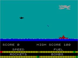 In game image of Harrier Attack on the Sinclair ZX Spectrum.