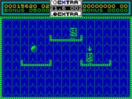 In game image of Helter Skelter on the Sinclair ZX Spectrum.