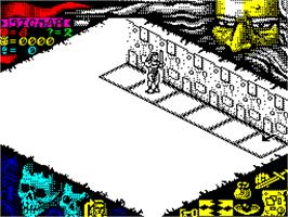 In game image of Hero Quest: Return of the Witch Lord on the Sinclair ZX Spectrum.