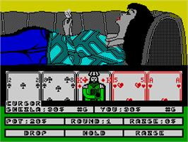 In game image of Hollywood Poker on the Sinclair ZX Spectrum.