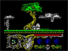In game image of Hundra on the Sinclair ZX Spectrum.