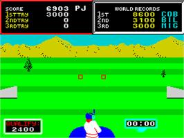 In game image of Hyper Sports on the Sinclair ZX Spectrum.