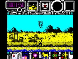 In game image of Hysteria on the Sinclair ZX Spectrum.