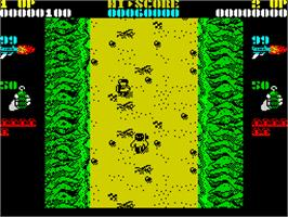 In game image of Ikari Warriors II: Victory Road on the Sinclair ZX Spectrum.
