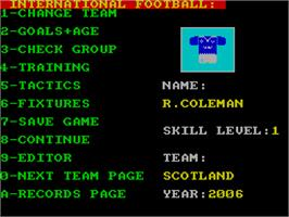 In game image of International Football on the Sinclair ZX Spectrum.
