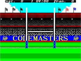 In game image of International Rugby Simulator on the Sinclair ZX Spectrum.