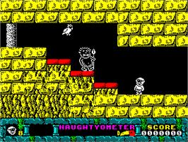 In game image of Jack the Nipper 2: In Coconut Capers on the Sinclair ZX Spectrum.
