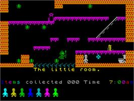 In game image of Jet Set Willy on the Sinclair ZX Spectrum.