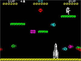 In game image of Jetpac on the Sinclair ZX Spectrum.