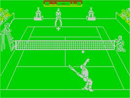 In game image of Jimmy Connors Pro Tennis Tour on the Sinclair ZX Spectrum.