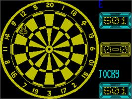 In game image of Jocky Wilson's Compendium of Darts on the Sinclair ZX Spectrum.