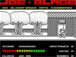 In game image of Joe Blade on the Sinclair ZX Spectrum.