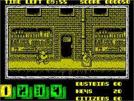 In game image of Joe Blade II on the Sinclair ZX Spectrum.