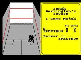 In game image of Jonah Barrington's Squash on the Sinclair ZX Spectrum.