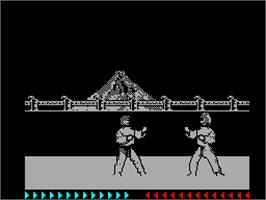 In game image of Karateka on the Sinclair ZX Spectrum.