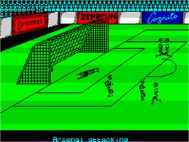 In game image of Kenny Dalglish Soccer Manager on the Sinclair ZX Spectrum.