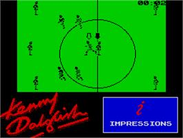 In game image of Kenny Dalglish Soccer Match on the Sinclair ZX Spectrum.