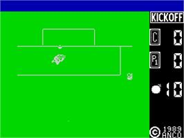 In game image of Kick Off on the Sinclair ZX Spectrum.