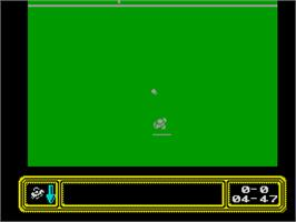 In game image of Kick Off 2 on the Sinclair ZX Spectrum.