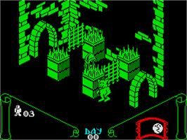 In game image of Knight Lore on the Sinclair ZX Spectrum.