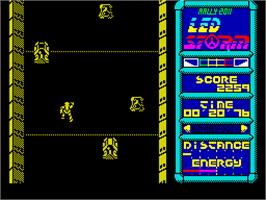 In game image of LED Storm on the Sinclair ZX Spectrum.