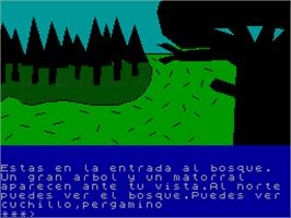 In game image of La Aventura Espacial on the Sinclair ZX Spectrum.