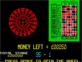 In game image of Las Vegas Video Poker on the Sinclair ZX Spectrum.