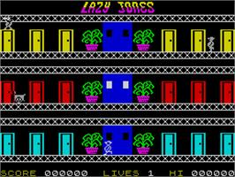 In game image of Lazy Jones on the Sinclair ZX Spectrum.