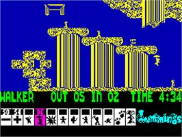 In game image of Lemmings on the Sinclair ZX Spectrum.