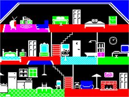 In game image of Little Computer People on the Sinclair ZX Spectrum.