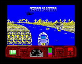 In game image of Live and Let Die on the Sinclair ZX Spectrum.