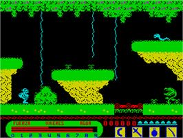 In game image of Livingstone, I Presume? on the Sinclair ZX Spectrum.
