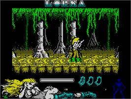 In game image of Lorna on the Sinclair ZX Spectrum.