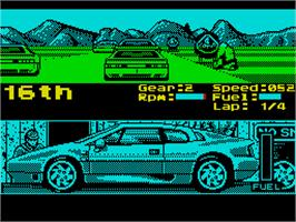 In game image of Lotus Esprit Turbo Challenge on the Sinclair ZX Spectrum.