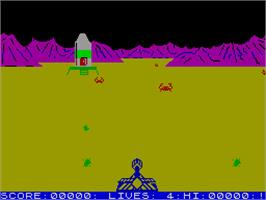 In game image of Luna Crabs on the Sinclair ZX Spectrum.