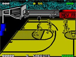In game image of Magic Johnson's Fast Break on the Sinclair ZX Spectrum.